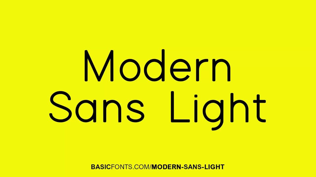 Modern Sans Light Font - YouTube