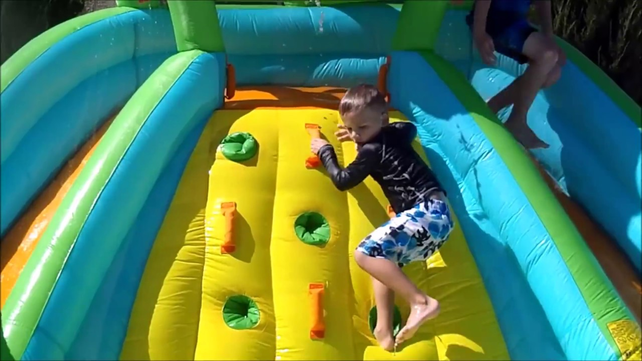 little tikes rocky mountain river race inflatable water slide playtime review youtube