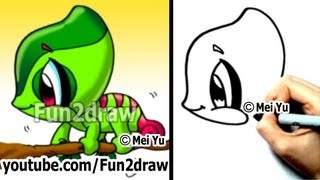 Easy Cartoon Drawing - How to Draw a Chameleon - Cute Art - Fun2draw