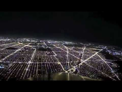 Night Landing Airplane at Chicago O