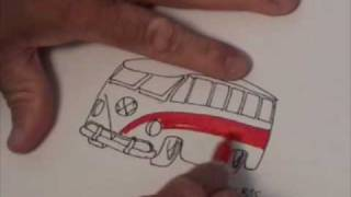 How to draw a 1967 VW Bus