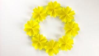 【折り紙】黄色い花のリース Yellow Flower Wreath