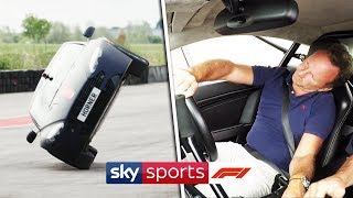Christian Horner drives an Aston Martin on two wheels!