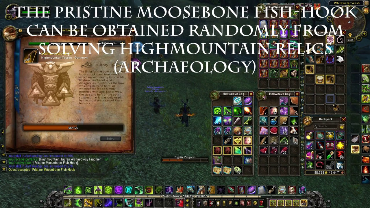 World of warcraft pristine moosebone fish hook archaeology for Wow fishing guide