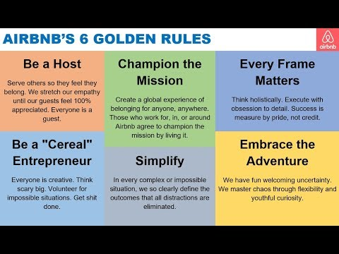AirBnb 6 Golden Rules via Brian Chesky - YouTube