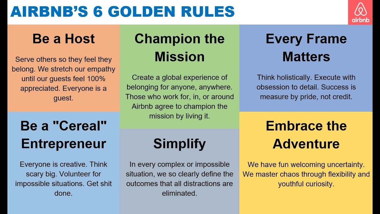 AirBnb 6 Golden Rules via Brian Chesky