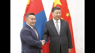 Xi Meets Mongolian President on Ties
