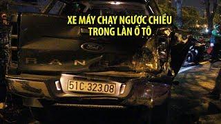 Xe máy chạy ngược chiều trong làn ô tô gây tai nạn kinh hoàng