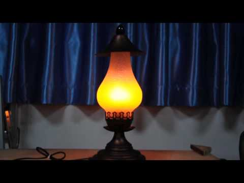 LED Fire Lamp Antique Metal Table Lamp with Modern LED Fire Effect Bulb Best Match