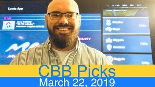 CBB Picks (3-22-19) | March Madness 2019 | Round of 64 | 1st Rd | NCAA College Basketball Tournament