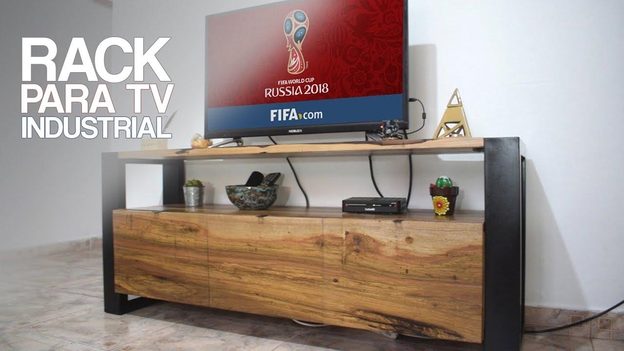 Mueble rack para tv estilo industrial proyecto mueble for Mueble de pared industrial