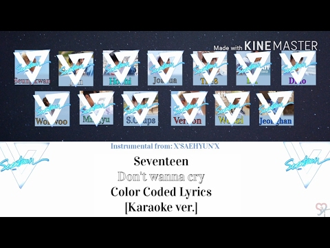 Seventeen - Don't Wanna Cry (울고 싶지 않아) [Karaoke ver.] - Color Coded Lyrics