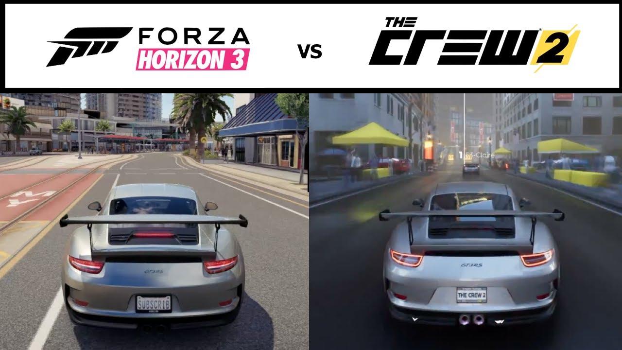 the crew 2 vs forza horizon 3 graphics comparison hd youtube. Black Bedroom Furniture Sets. Home Design Ideas