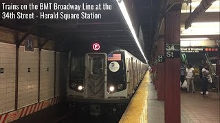 NYC Subway: Trains on the BMT Broadway Line at 34th St-Herald Sq Station