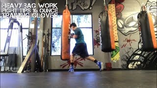 Hitting the Heavy Bag with FIGHTTIPS 16 Ounce Training Gloves