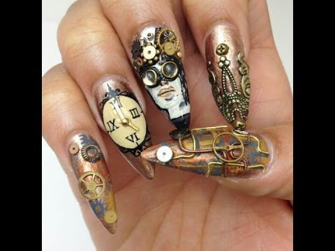 Steampunk nail designs creative nails youtube steampunk nail designs creative nails prinsesfo Choice Image