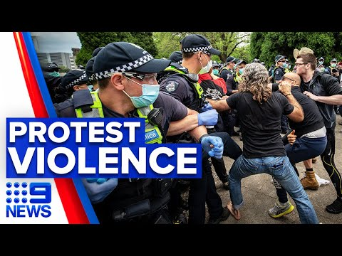 Coronavirus: Anti-lockdown protest erupts in violence | 9 News Australia