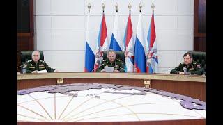 Заседание коллегии Министерства обороны России под руководством Сергея Шойгу (20.03.2020)