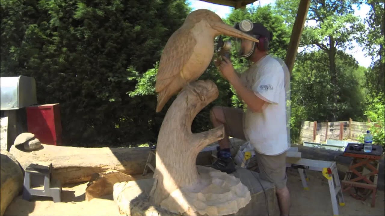 Chainsaw dave time lapse sculpture kingfisher youtube