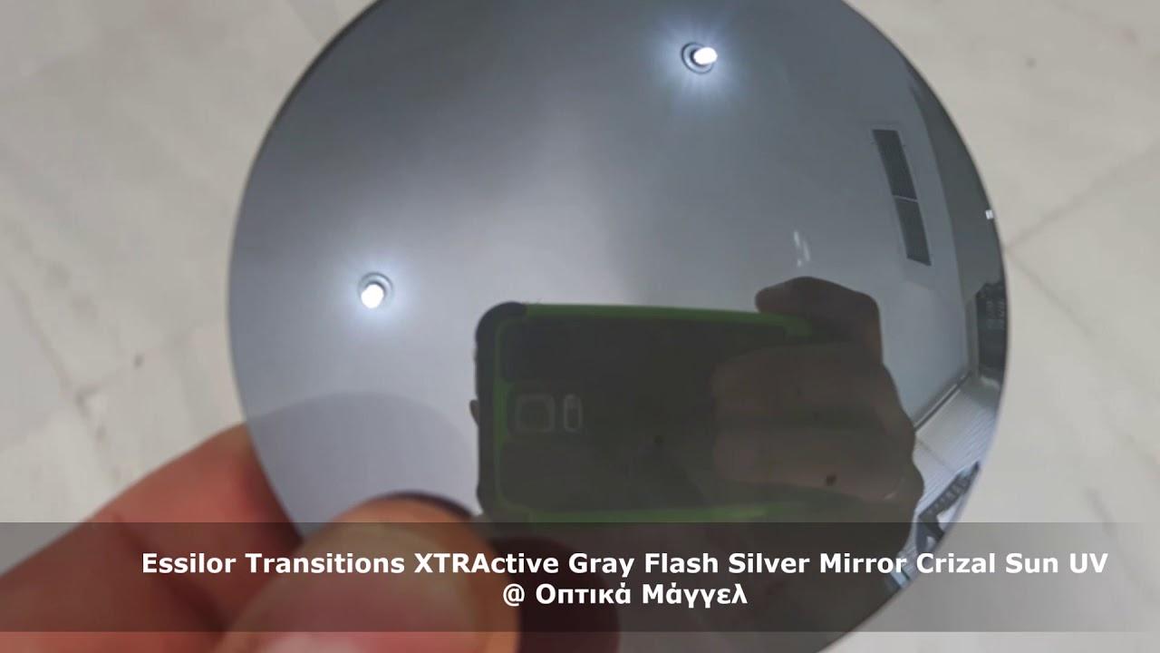 3aa0265a1d Essilor Transitions XTRActive Gray Flash Silver Mirror Crizal Sun UV ...