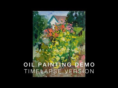 "TIME-LAPSE Oil Painting Demonstration ""Yellow and Red Rose Bushes"""