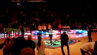 Taylor Tote singing National Anthem at Madison Square Garden