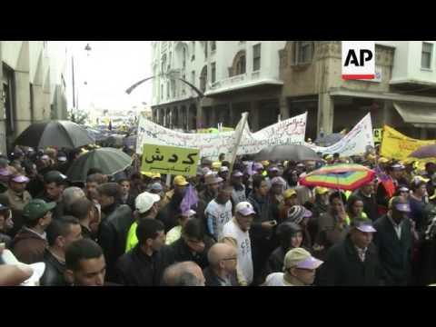 Morocco's unions protest government, economy