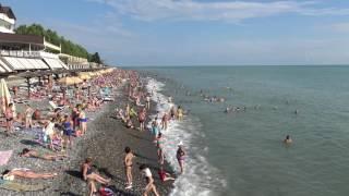 Россия Сочи Лазаревское курорт сегодня тысячи отдыхающих 4К(полный экран)