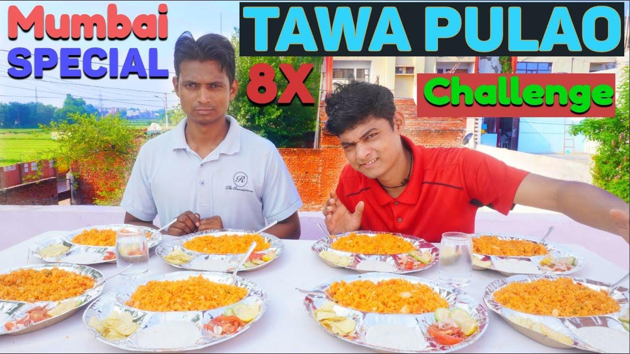 Mumbai Street Style Tawa Pulao Thali Eating Challenge ( 8x Tawa Pulao Thali Challenge )