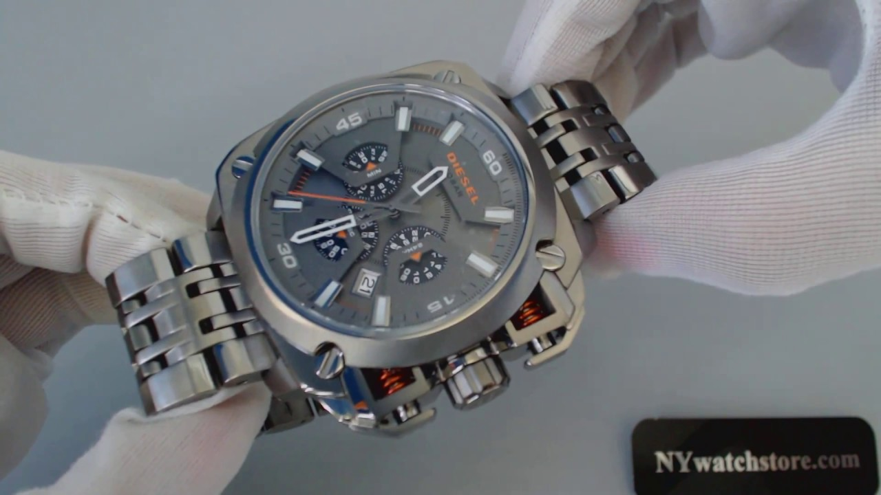62a95110cdd Men s Gunmetal Diesel Bamf Chronograph Steel Watch DZ7344 - YouTube