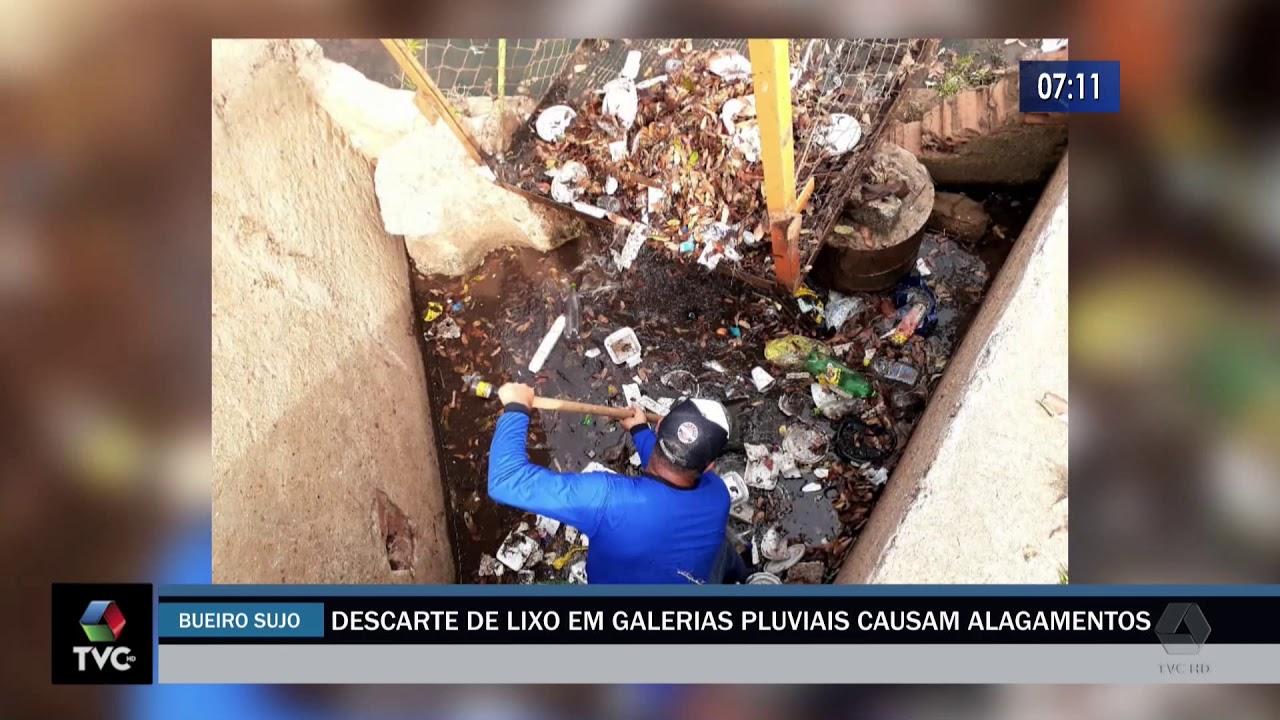 Descarte de lixo em galerias pluviais causam alagamentos