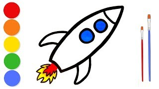 Glitter Rocket coloring and drawing for kids and toddlers | Learn colors | ArtLand