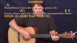 summertime blues eddie cochran guitar cover lesson with chords lyrics e a b7