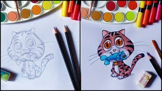 How to Draw a Cat for Kids - Cute  Animals Drawing