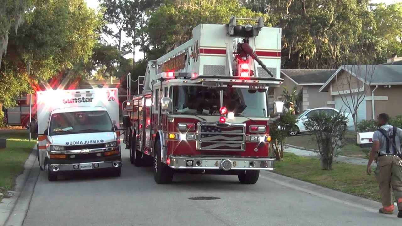 roto ray lights clearwater fire rescue truck 48 with cool looking rotoray light on the front
