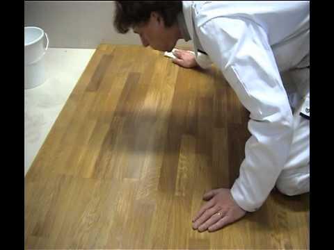 Восстановление части паркетной доски с помощью масла для пола c твердым воском OSMO 3032