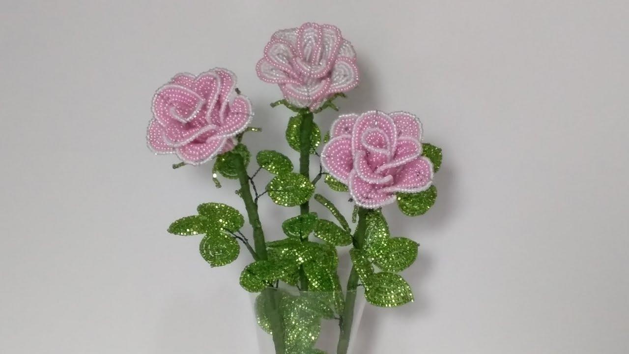 Цветы из бисера. Бокаловидные розы из бисера. 1 часть.Мастер класс. Пошаговый МК для начинающих.