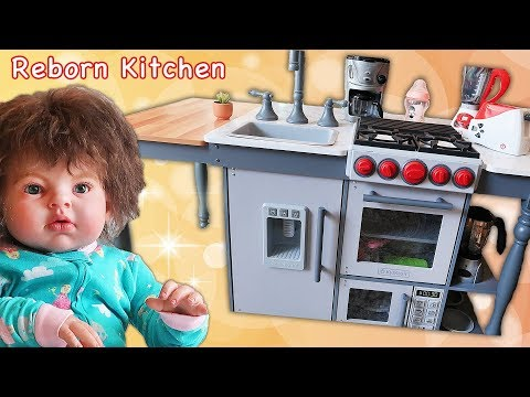 Reborn Doll Gets Costco KidKraft Chef's Cook N Create Island Play Kitchen | Play Kitchen Tour