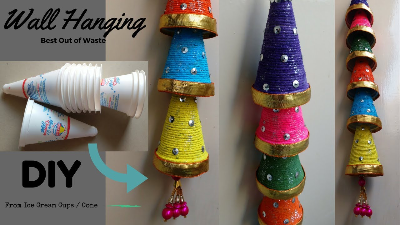 Wall hanging from ice cream cups diy best out of waste for Best out of waste wall hanging ideas