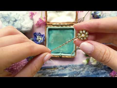 Edwardian 15ct Gold Pearl Flower Stick Pin 3897