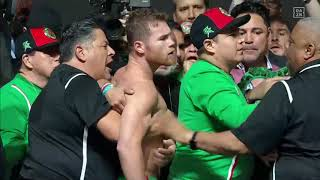 Canelo and Jacobs erupt at face off (Video: Golden Boy Promotions)