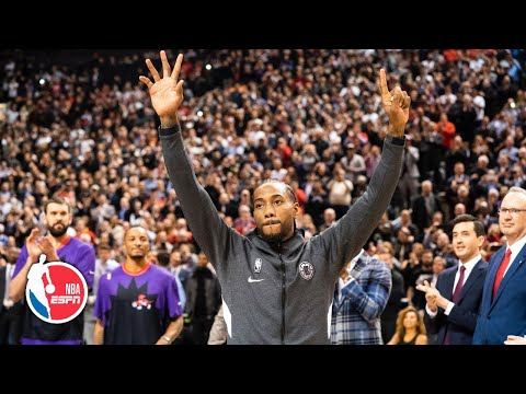 Kawhi Leonard gets tribute video and championship ring from Raptors in Toronto return | NBA On ESPN
