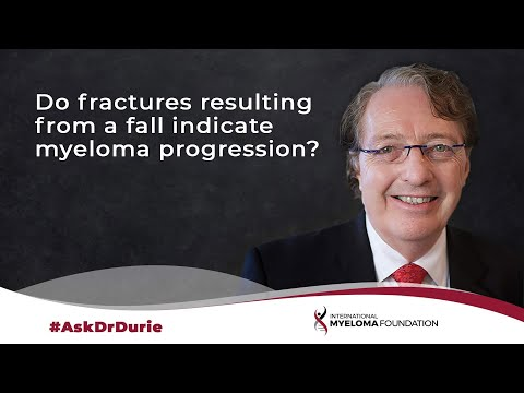 Do broken bones resulting from a fall indicate a progression from MGUS to active myeloma?