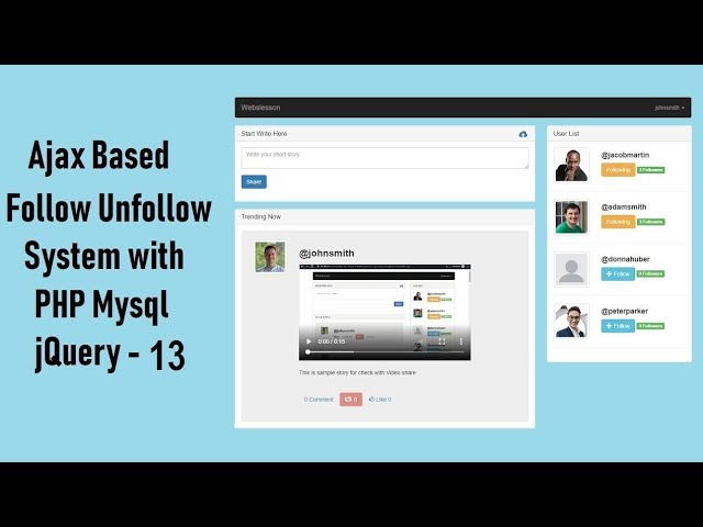Ajax Based Follow Unfollow System with PHP Mysql jquery - 13