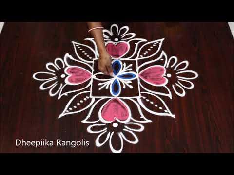 Simple And Easy Flower Rangoli Design With 5x5 Dots * Beginners Margazhi Kolam * Chukkala Muggulu