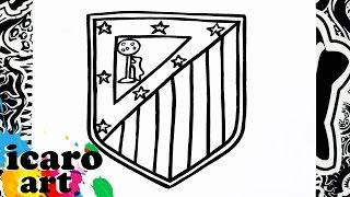 como dibujar el escudo del atletico de madrid | how to draw atletico madrid logo