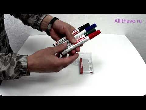 Набор маркеров для доски 4 цвета 0 8 2 5 мм Erich Krause W 500 - Видео-обзор