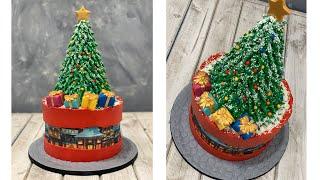Christmas Tree Fault Line Cake   Christmas Village Fault Line Cake