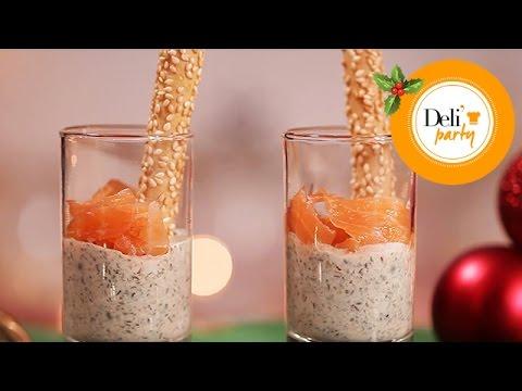 Recette de Noël Verrines Gressin, Crème de Lentilles et Saumon - YouTube
