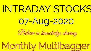 Day trading stocks 07-08-2020  Best stocks with huge potential for intraday